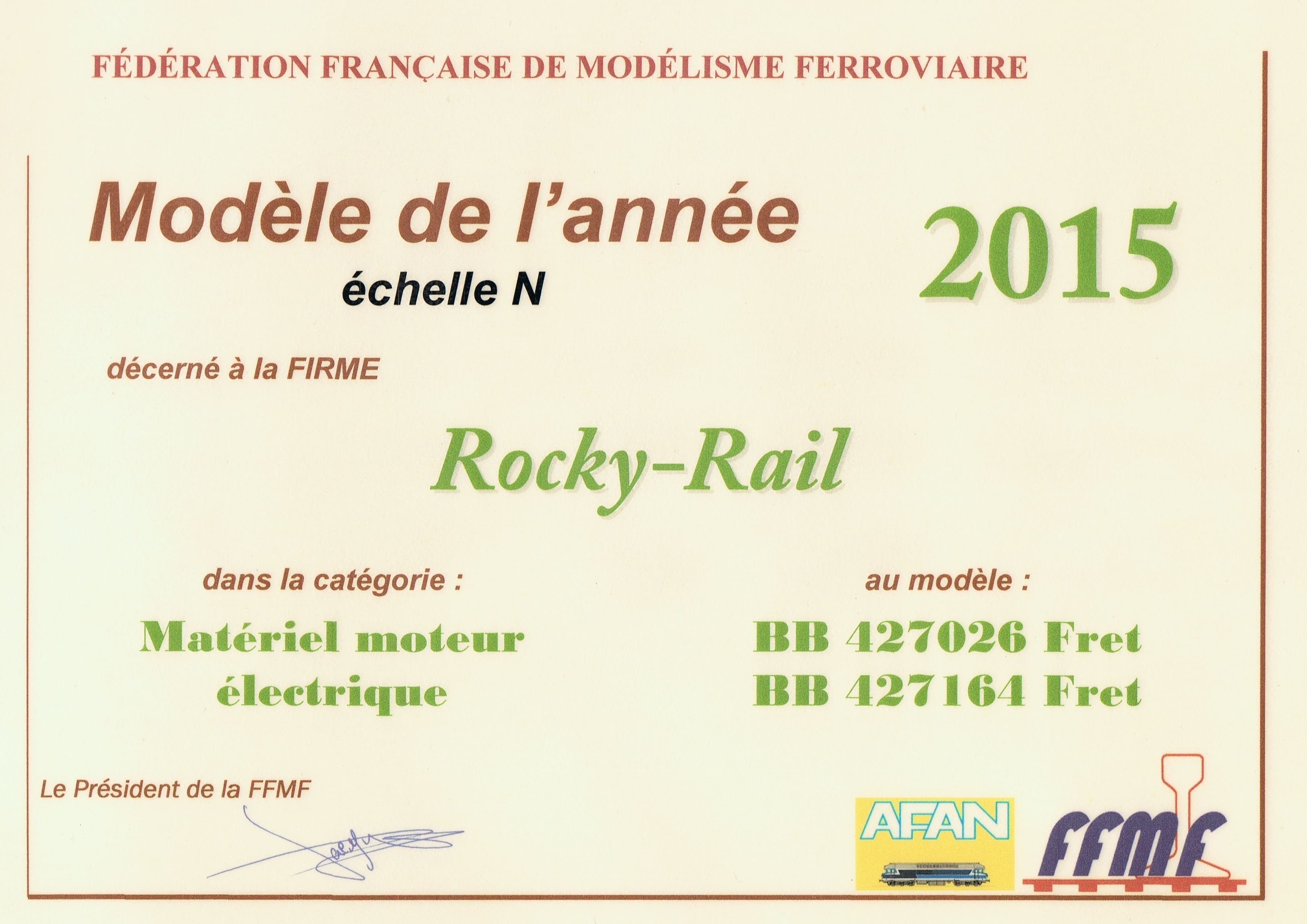 """diploma of """"model of the year scale n"""" for our bb rocky rail modele de l annee 2015 echelle n"""