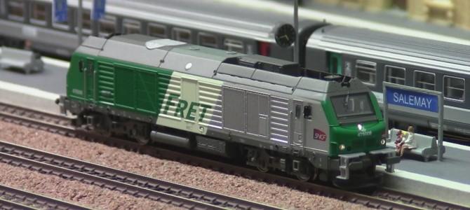 Train Miniature Gare de Salemay Echelle N (BB 75008 FRET avec sa rame de 22 EX)