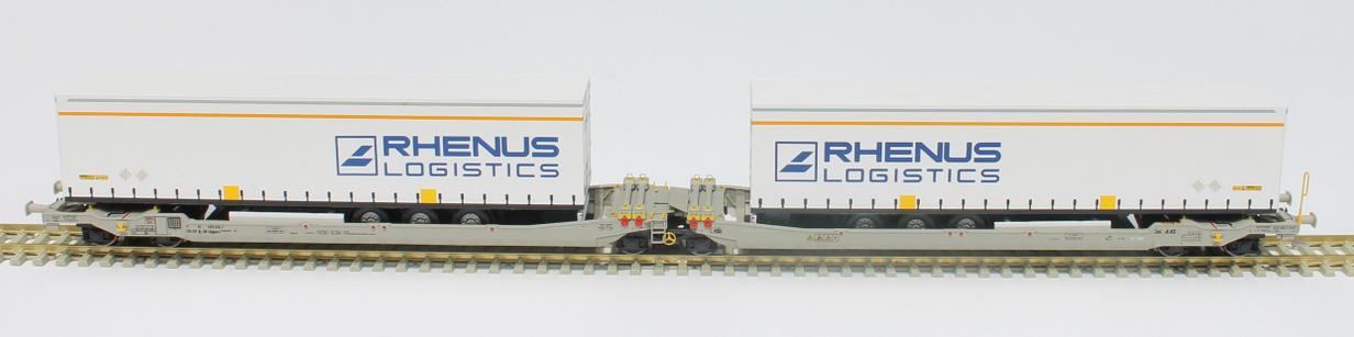 RR90332 : Twin car AAE Cargo DB Schenker Rail AG + 2x trailer RHENUS